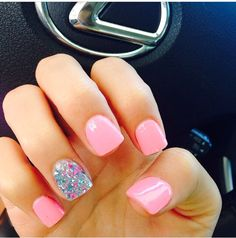 Light Pink Nails + Glitter Accent. Love these!
