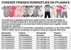Medemblik – Uit onderzoek is gebleken dat bij een aantal Forever Friends rompertjes en pyjama's van Malu Holland B.V. de drukknoopjes kunnen loslaten. Bij inname van deze drukknoopjes i…