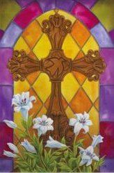 """Stained Glass Cross Flag (Garden Size) by House-Impressions. $7.99. Silk Reflections Flag. Great for yourself or as a gift. 12.5"""" x 18"""". A flag is the greeting card of your home. © Doug Ross. Like a stained-glass window collecting the morning sun, this flag is stunning. Pure, white Easter lilies surround the base of this handsomely carved cross, with a dove of peace at its center, creating a picture as beautiful as it is holy. With every wave of this flag in the wind, the Easte..."""