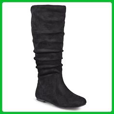 Journee Collection Womens Wide Calf Slouch Microsuede Boots Black 10 Wide Calf - Boots for women (*Amazon Partner-Link)