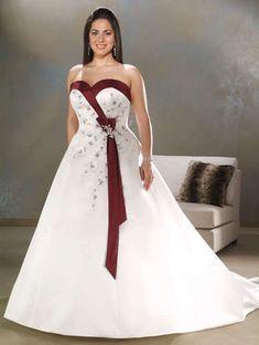 FairOnly A Line Satin Wedding Dress Bridal Gown Plus Size 6 8 10 12 14 16 18
