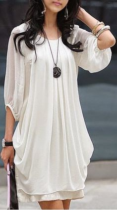 I want this dress. 3/4 sleeves White Chiffon Dress. #white #chiffon