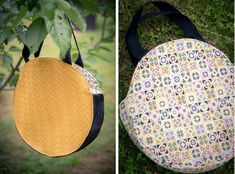 Tuto couture: the reversible round tote bag - Sewing Tutorials, Sewing Projects, Coin Couture, Diy Handbag, Fabric Bags, Sewing Accessories, Free Sewing, Purses And Bags, Diy Crafts
