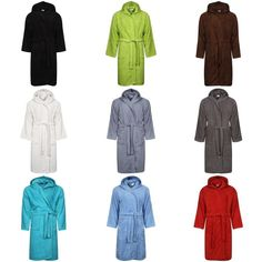 BATH ROBE LADIES MENS 100% COTTON TERRY TOWELLING HOODED SOFT ABSORBENT afe168674