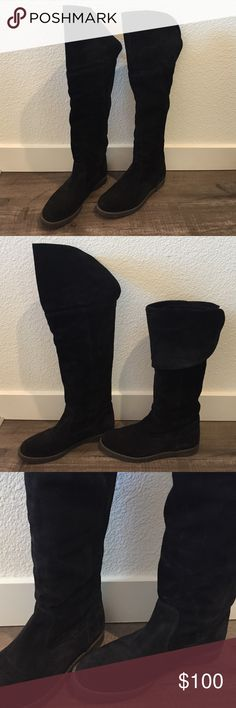 Genuine suede pirate knee boots- faux fur lined Originally bought on London's Kings Rd in Chelsea, these fabulous pirate knee boots are great for fall/ winter! They're probably the warmest boots I've ever had!As you can see, the soles have some wear on the base but the suede is still in great used condition. These can be worn over the knee or folded down as shown in the second pic. They come in their original box. Shuz Shoes Over the Knee Boots
