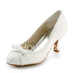 Wedding Shoes - $28.99 - Lace Satin Spool Heel Closed Toe Pumps Wedding Shoes With Bowknot (047005740) http://jjshouse.com/Lace-Satin-Spool-Heel-Closed-Toe-Pumps-Wedding-Shoes-With-Bowknot-047005740-g5740