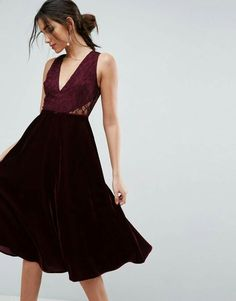 Velvet Midi Dress with Lace Details | Fashion #ad