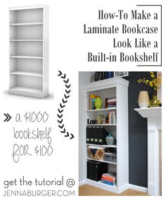 #DIY #Tutorial How-To Make a Laminate Bookcase Look Like a Custom Built-in Bookshelf.  A $1000 or more bookshelf for just about $100  - Similar Look, HUGE SAVINGS! Tutorial @ www.jennaburger.com