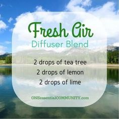 Want to freshen up your home? Try the Fresh Air diffuser blend. Tea tree (melaleuca) lemon and lime essential oils eliminate odors making your home smell great again. click image for 40 more favorite diffuser blends as well as a FREE PRINTABLE of all the recipes.