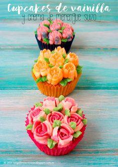 N.M. Galletas Artesanas: Cupcakes decorados con boquillas rusas
