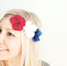 Just added some 'Glory Buds' to the site! Show your love for our nation and our service men & women with this handmade patriotic hydrangea headband. Perfect for Memorial Day or the 4th of July.  www.shop3sn.com stagecoach, merica, red white and blue, America, USA, flower crown, flower headband,