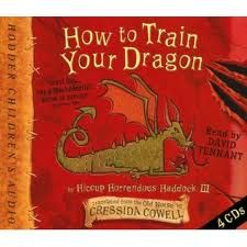 How to Train your Dragon the book. It is a lot different than the movie. I certainly like the movie better, but the book is good too.