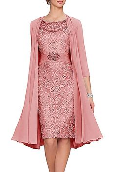 Fast Delivery Sheath Mother Of The Bride Lace Dresses With Long Jacket 4 3 Sleeves Zipper Shiny Satins Formal Mothers Wedding Gowns