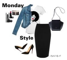 """""""Monday Style!"""" by quintan ❤ liked on Polyvore featuring River Island, White House Black Market, Christian Louboutin, Rodial, Givenchy, denimjacket, graphictee and stylingideas"""
