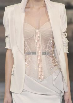 sexy lingerie mixed with professional wear: Antonio Berardi Spring 2010