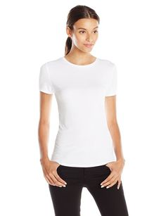 Lark & Ro Women's Super Soft Short Sleeve Crewneck T-Shirt, White, Medium