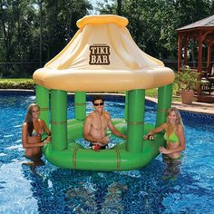 Pool Canopy, Party Inflatables, Inflatable Float, Inflatable Pool Toys, Swim Up Bar, Tiki Bars, Summer Pool, Summer Fun, Summer Things