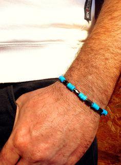 Bracelet en pierre de gemmes Turquoise et Hematite. : Bijoux pour hommes par camelys-bijoux