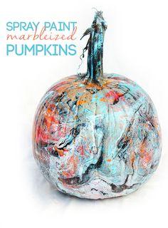 alisaburke: spray paint marbleized pumpkins