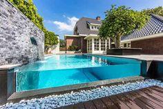 101 Bilder von Pool im Garten - gartengestaltung pool flusssteine beton wand