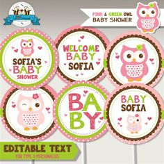 """Editable Pink & Green Owl Baby Shower 2"""" Cupcake Toppers"""