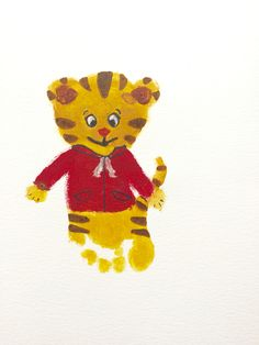 A first attempt at Daniel tiger footprint art Craft Activities For Kids, Preschool Crafts, Sensory Activities, Preschool Ideas, Toddler Activities, Craft Ideas, Toddler Art Projects, Toddler Crafts, Tiger Crafts