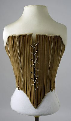 Corset 1750, American, Made of cotton and leather