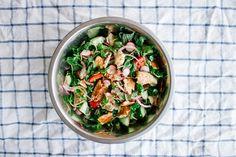 Fattoush Salad--purslane/pea shoots, parsly, mint, scallions, radishes, cucumber, onion, cherry tomatoes, pita shreds coated in sumac, lemon juice, pomegranate molasses and garlic