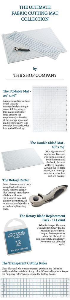 Introducing our brand new line of cutting mats (foldable and double sided), rotary blades, extra blades and transparent rulers.