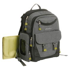 <p>You'll never guess it is a Diaper Bag. The Eddie Bauer First Adventure, Benson Back Pack hides it's true intensions well. Featuring the Eddie Bauer Places and Spaces system, there is room for all of dad's, mom's and baby's needs. Pockets abound, lead by the spacious main compartment, with bottle pouches, and secure zip close pocket. The outside includes a front organizer, flap pouch (with magnetic closure) and front zip pouch, perfect for easy access to keys, w...