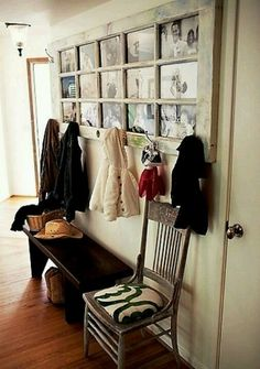 Instead of cluttering up the small space by your door with picture frames, coat hooks & shoe storage, combine the 3 into seating/shoe storage and this genius upcycle idea! If the distressed look isnt for you, sand and stain. You can create a collage of pictures with a theme, hodgepodge it or combine favorites with sayings you like. The hooks could be uniform or wildly different. The sky is really the limit with this project.