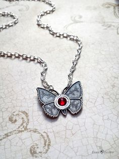 Steampunk Butterfly Necklace  Small Silver by bionicunicorn, $25.00