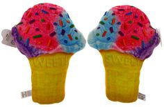 Food Fight PillowsRealistic LookingMulti-Colored Ice Cream Cone with sprinklesSet of 2 PillowsPlush, Soft and ComfortableEach pillow measures approximately 12 1
