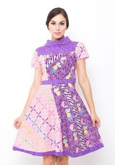 Batik Trusmi Dress Motif Liris Tulis Bunga Tulis Ungu from Batik Trusmi in purple_1