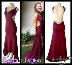 Burgundy soft mermaid, open back matric dance dress. With side tummy openings. Sweetheart neckline. Detailed with silver beads and silver detail. #mariselaveludo #fashion #matricdance #matricdress #passion4fashion #burgundydress #sexydress