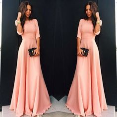 Slim Pure Color 3/4 Sleeves Pleated Long Maxi Dress - O Yours Fashion - 3