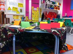 writing den - choose your pen and paper from the top then go underneath. this creates loads of talk 'n' write moments.
