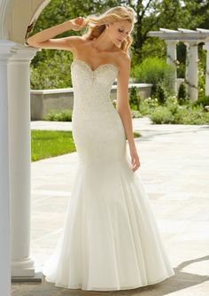 Classy Bling  Crystal Beading on Soft Net Bridal Gown from Voyage by Mori Lee