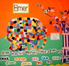 Elmer the Elephant --- excellent book for working together, color recognition. Eyfs Classroom, Classroom Crafts, Classroom Displays, Classroom Themes, Baby Room Activities, Book Activities, Preschool Activities, Preschool Colors, Teaching Colors