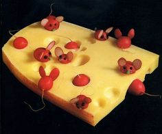 Cheese with radish mice