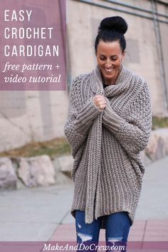 Learn How to Make an Easy Crochet Cardigan - Free Pattern + Video Tutorial - - Learn how to make a figure-flattering cardigan from a simple rectangle in this free beginner crochet sweater pattern and tutorial. Flowy and modern! Pull Crochet, Knit Crochet, Crochet Geek, Crochet Tops, Crochet Granny, Crotchet, Cardigan Au Crochet, Crochet Sweaters, Crochet For Beginners