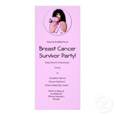 Breast Cancer Survivor Party Invitations (Breast Cancer Betty, African-American Versioni) #breastcancer