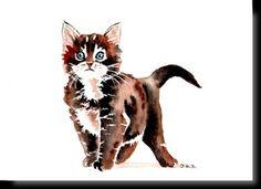 Cartes postales d'art félines Watercolor Cat, Watercolor Animals, Cat Drawing, Line Drawing, Cat Whisperer, F2 Savannah Cat, Cat Sketch, Animal Sketches, Cat Tattoo