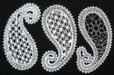 Advanced Embroidery Designs. Paisley free standing lace. Machine embroidery designs. Doily with free standing  paisley lace. Designs for computerised home embroidery machines.