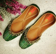 Pure silk green valley juttis from the house of vian.. Luxury footwear for woman..