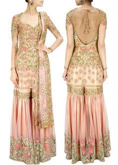 ASHIMA LEENA Powder pink and gold thread work sharara set