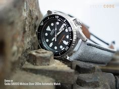 In military sytle: MiLTAT canvas watch straps with Seiko SKX013. Military used much cotton canvas to make military equipment, too.20mm MiLTAT Black Leather Washed Canvas Ammo Watch Strap in Militar…