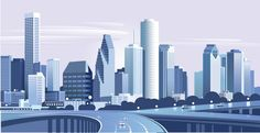 Vector Houston skyline, very good quality. City Buildings, Modern Buildings, Modern Architecture, Building Illustration, City Illustration, Houston Skyline, Custom Painted Shoes, City Vector, Modern City