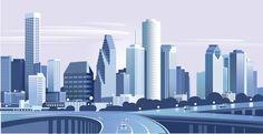 Vector Houston skyline, very good quality. Building Illustration, City Illustration, Landscape Illustration, City Buildings, Modern Buildings, Modern Architecture, Purple City, Houston Skyline, Modern City