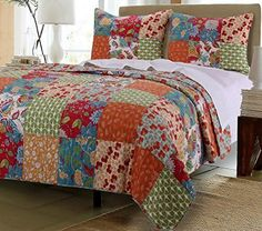 Vintage Country Floral Bedding Patchwork Pattern Flowers Orange Blue Green 100 Cotton Reversible 3 Piece Quilt and Shams Set Full/Queen Size  #country #cottage